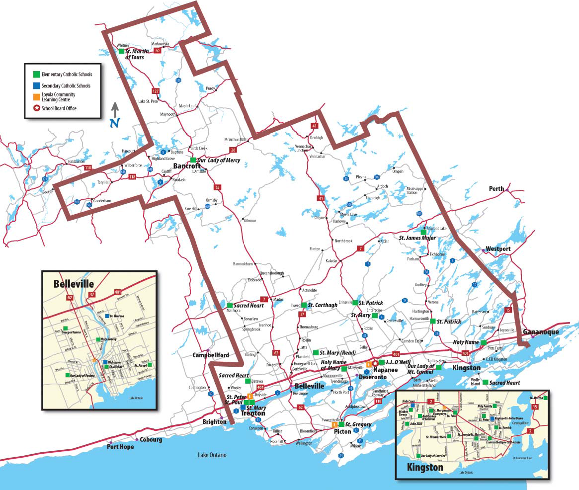 Map of the region that Algonquin and Lakeshore Catholic District School Board covers.