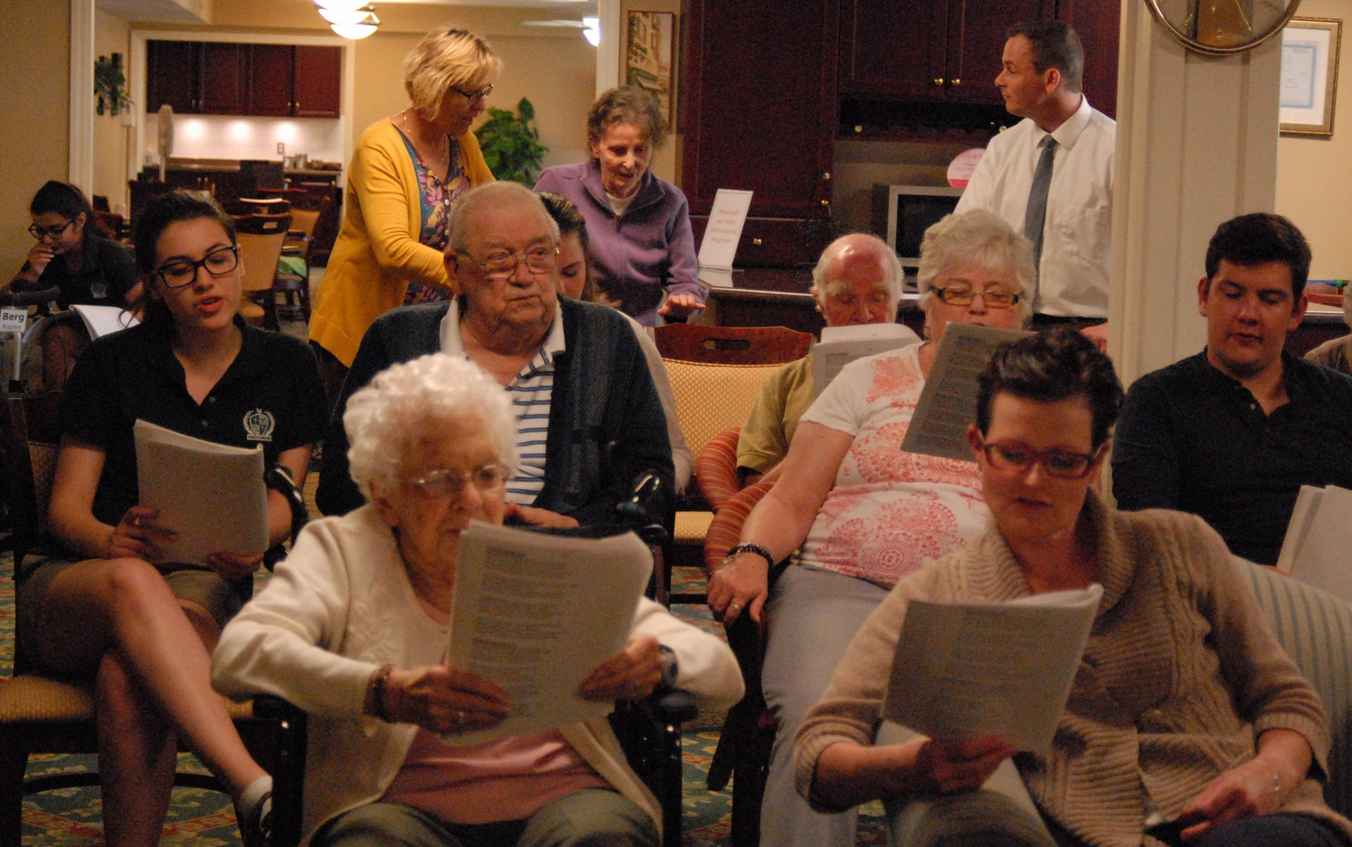 Holy Cross Staff and Students leading a sing a long with the Rosewood Residents 2.