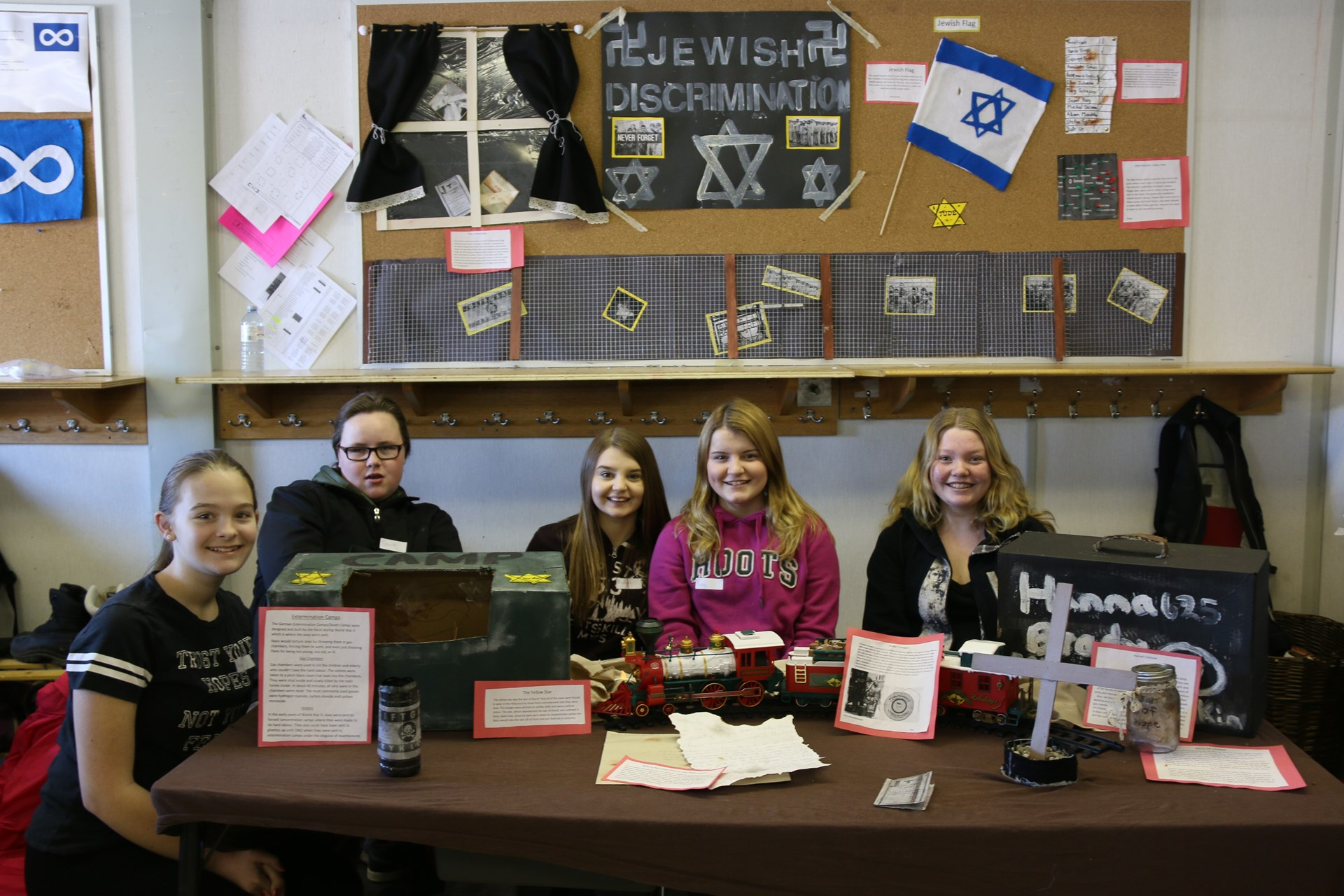 Students at the Jewish discrimination table