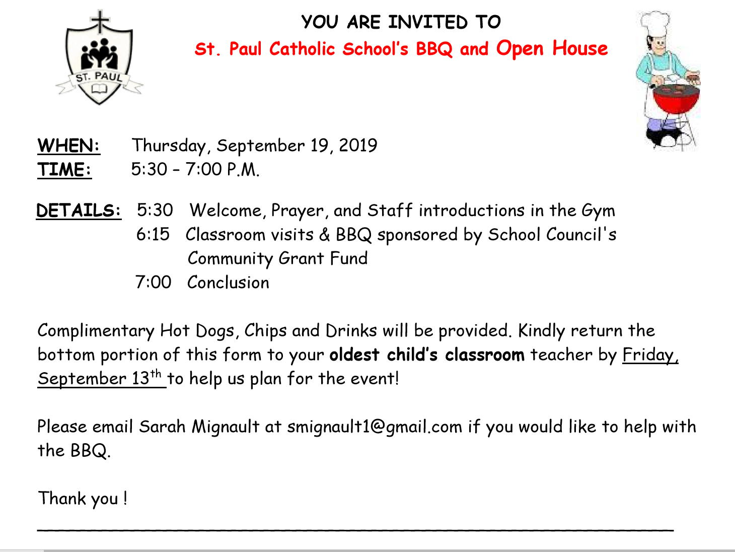 Welcome Back BBQ & School Open House - Sept. 2019