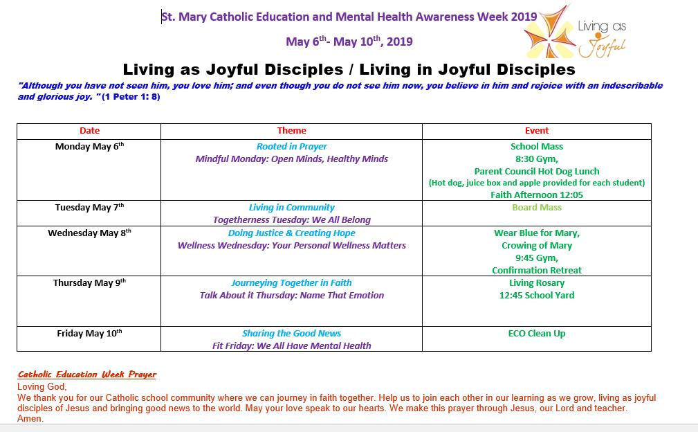Catholic Education Week Scheduale
