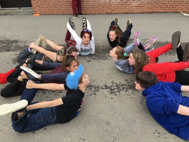 Students playing outside.