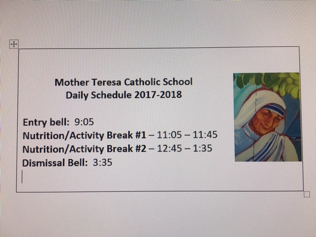 Mother Teresa Daily Schedule 2017-2018