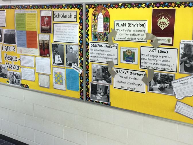 Bulletin board with school improvement plan.