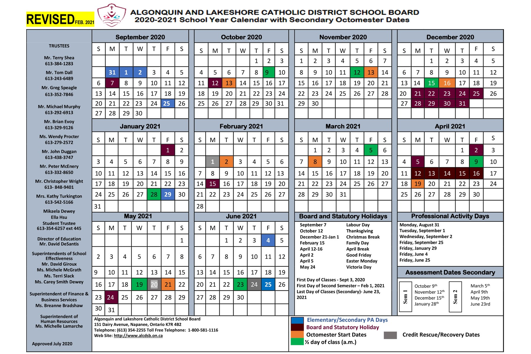 2020-2021 School Year Calendar (Revised February 2021)