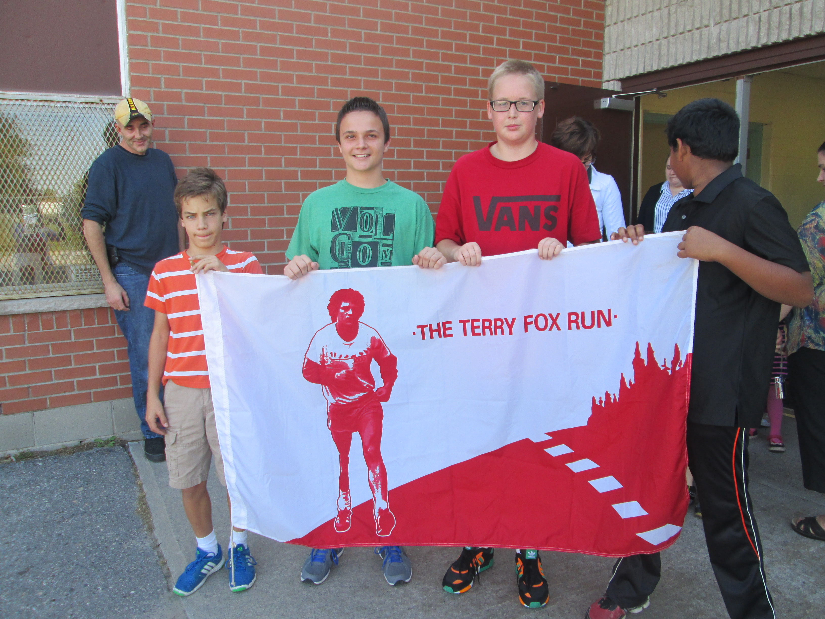 Students holding Terry Fox Run Banner