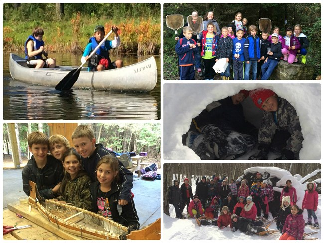 Photo collage of students canoeing, doing winter activities and collecting pond life