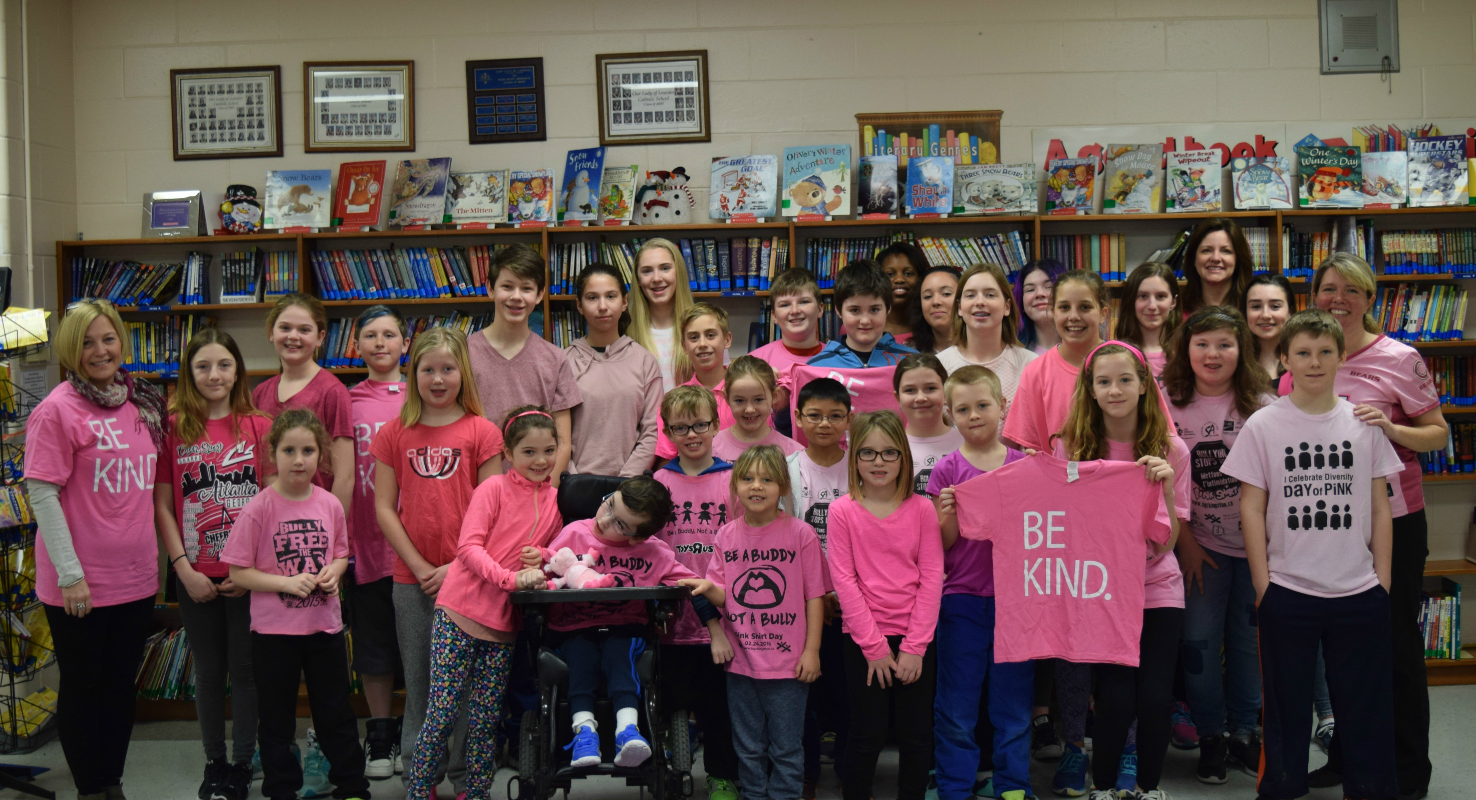 Students participating in pink shirt day 2017