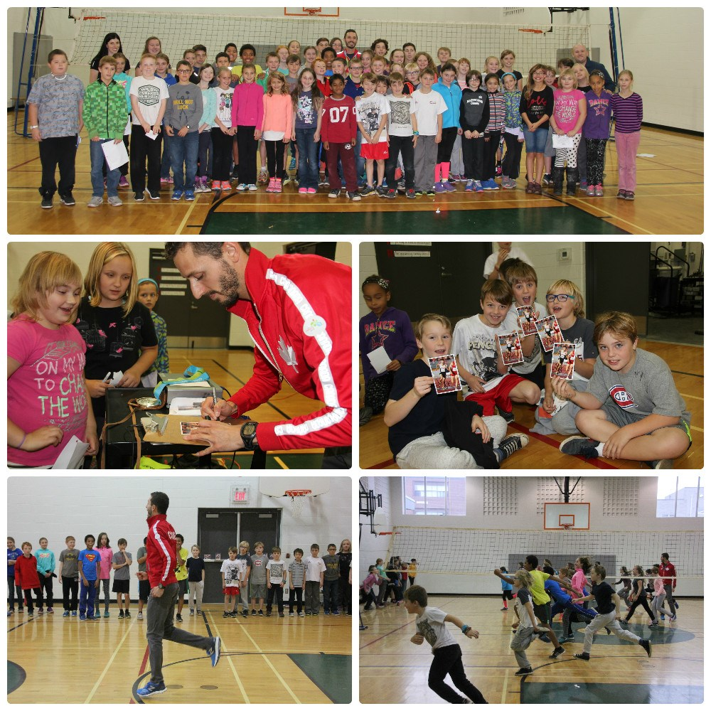 Collage of photos with students listening to Olympian Alex Genest.