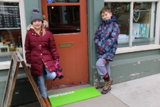 students with StopGap ramp outside of Olive Oil Company