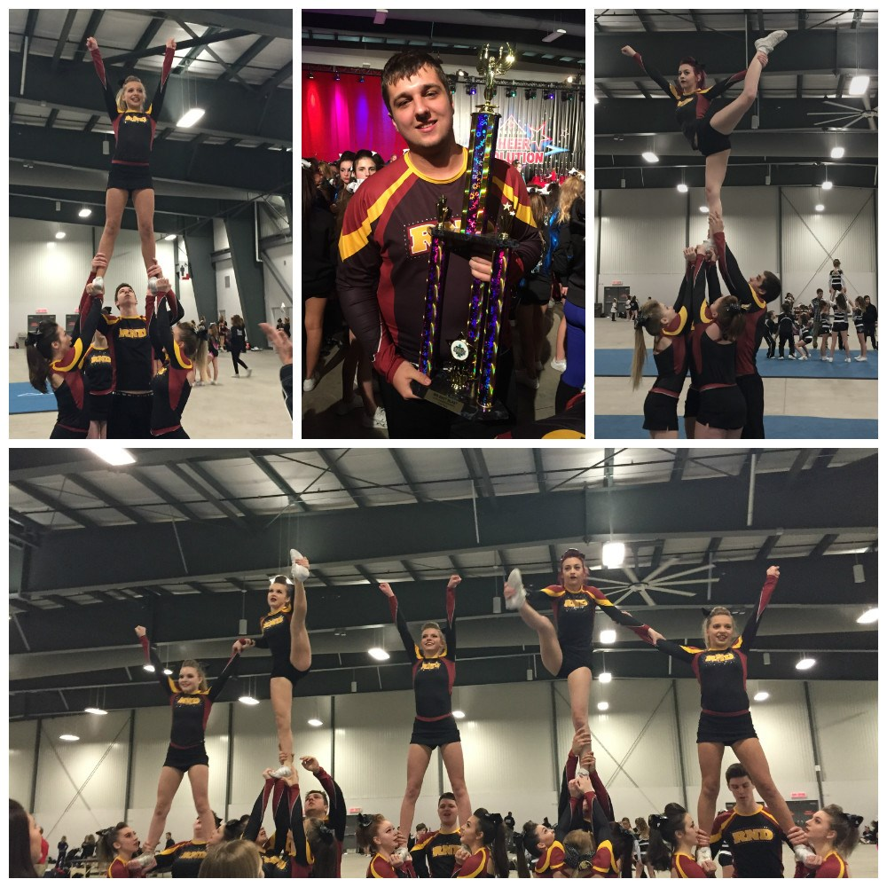 Collage of various poses by Cheer team