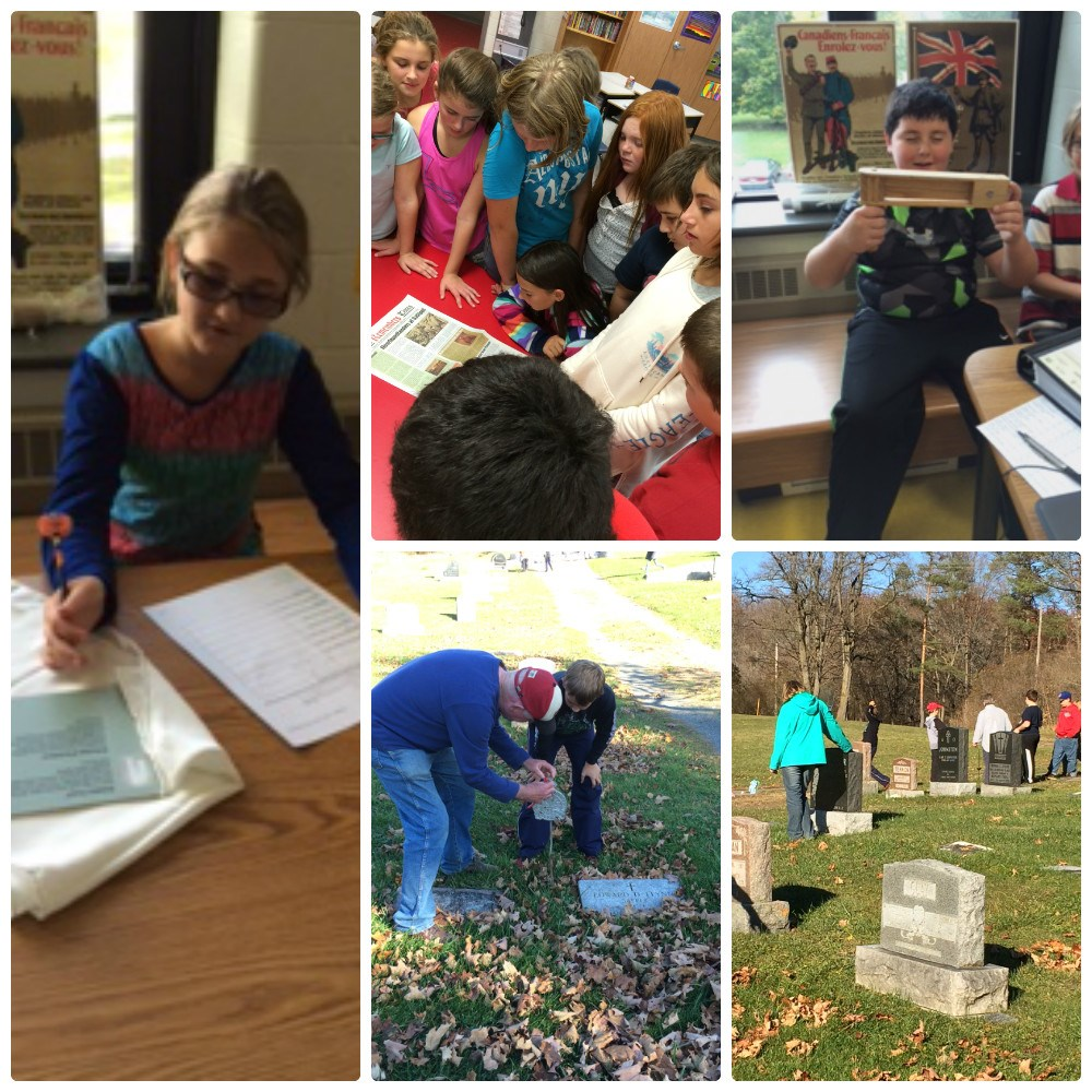 Collage of photos of students looking at artifacts.
